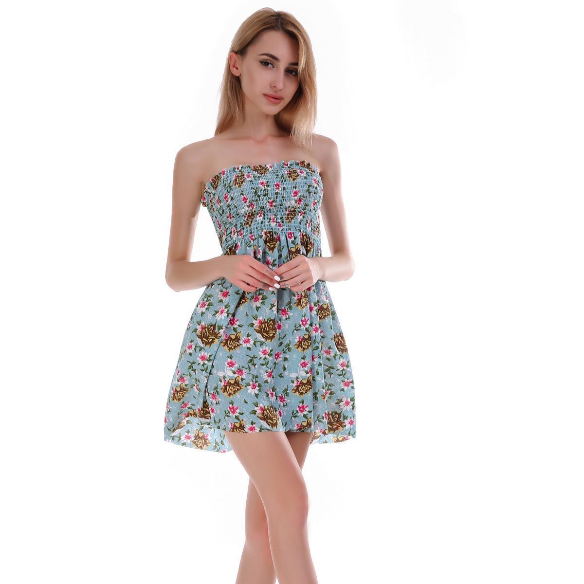 94d3845eeaf Compre Lossky Gasa Vestido De Mujer Verano 2018 Sexy Elástico Plisado  Sujetador Pecho Playa Bohemia Imprimir Vestido Mujer Mini Verano es A   27.32 Del ...