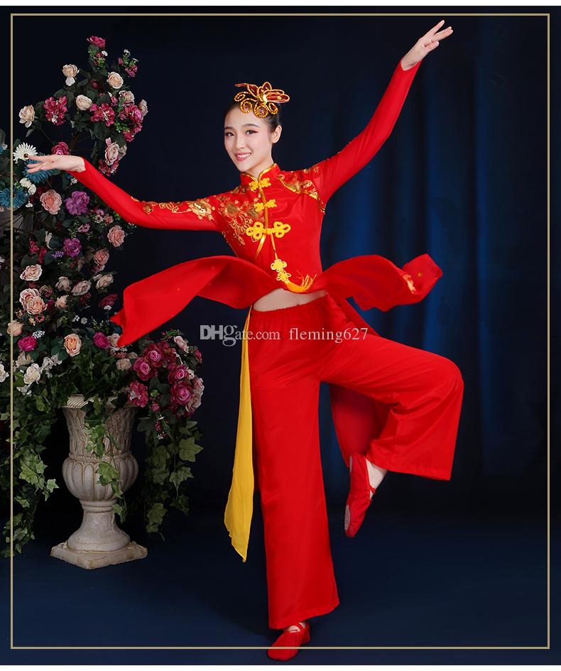 Heißer Verkauf nationalen Fan Tanz Bühne Kleidung alten Yangko Kleid traditionellen chinesischen Tanz Kostüme Oriental Dance Kostüme