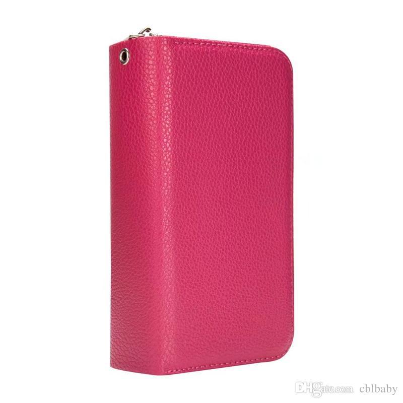 Para iPhone 7 6 Plus X Funda de billetera de cuero desmontable Bolsa de monedero extraíble Tarjeta de tapa trasera Cubierta con cremallera Teléfono celular Fundas de gel suave