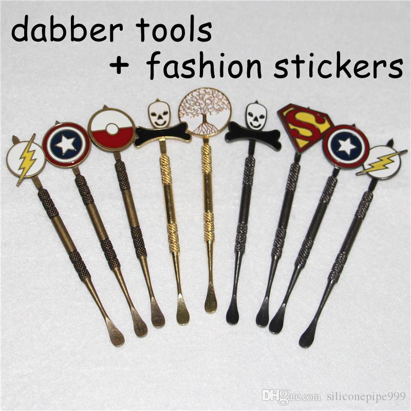 Wax dabber tool with fashion stickers wax atomizer cig stainless steel dab tool titanium nail dabber tool dry herb vaporizer pen dabber