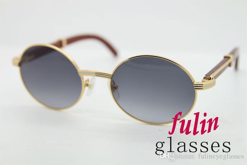 شحن مجاني 18K الذهب خمر الخشب النظارات الشمسية النظارات الشمسية إطارات معدنية خشبية حقيقية للرجال الخشب خمر النظارات 7550178 النظارات الشمسية البيضاوي