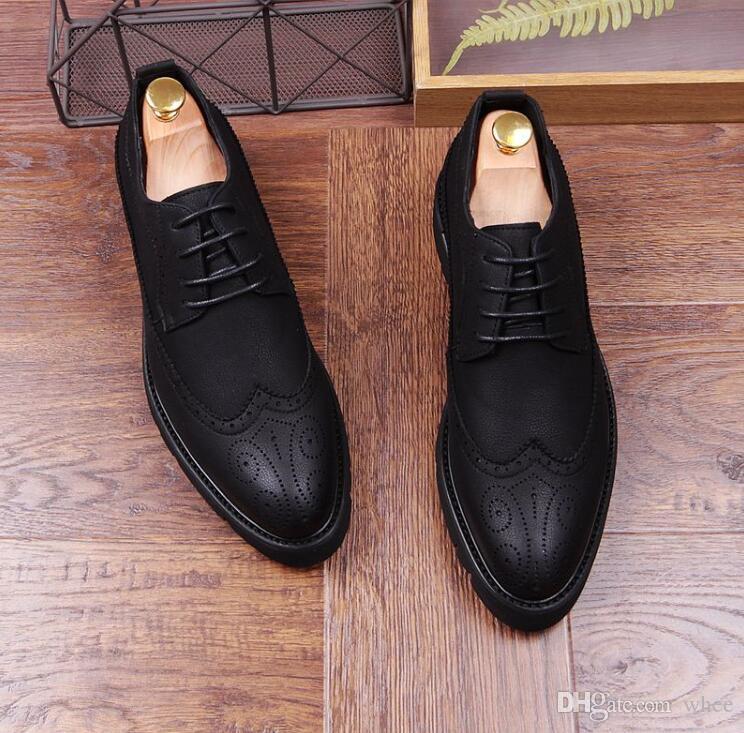 Primavera New mens sapatos sapatos mocassins sapatos de casamento escultura de sapatos pretos tamanho 38-43 228