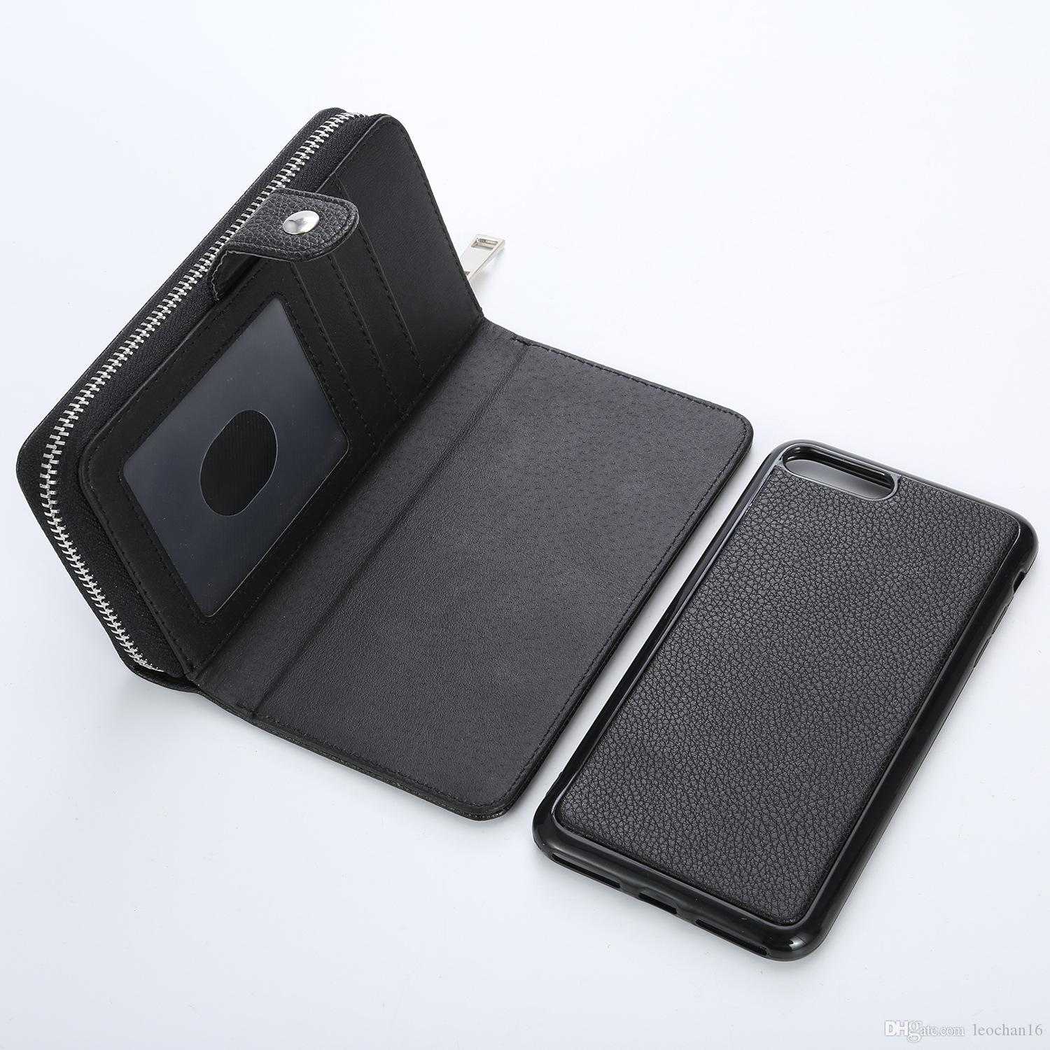 buy popular bf841 5e2a6 Removable Magnetic Flip Leather Wallet Bracelet Wrist Strap Case Zip  Handbag Holster Cover Shell for iPhone X 6s 7 8 Samsung S8 s9