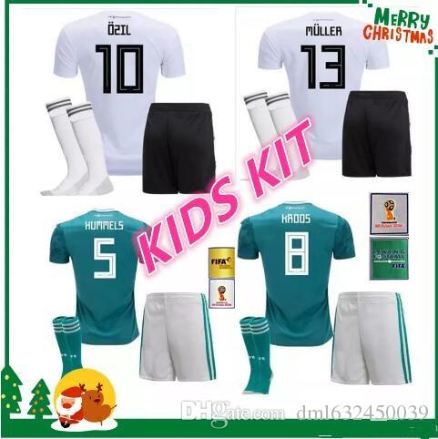 bead08e73 Kids Kit Germany 2018 World Cup Home Away Soccer Jersey MULLER OZIL ...