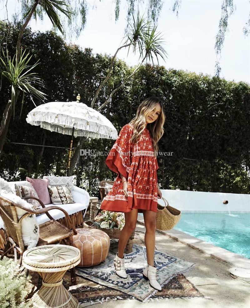 a10dacc49 Vestido mini boho 2018 vintage rayon rojo Vestidos con estampado floral  verano o-cuello playa bohemia fiesta junto al mar vestido de fiesta vestido  ...