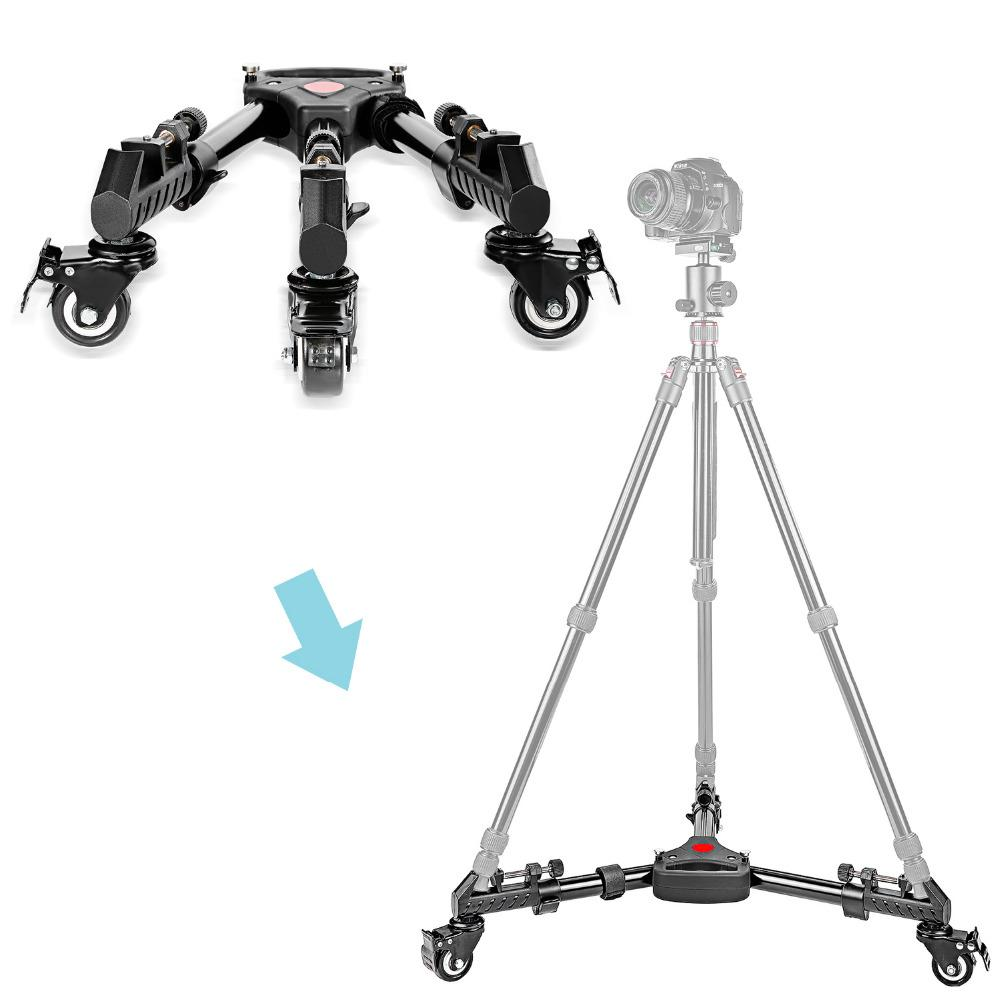 wholesale Photography Professional Universal Folding Camera Tripod Dolly Base Stand with Rubber Wheels for Canon Nikon DSLR Video