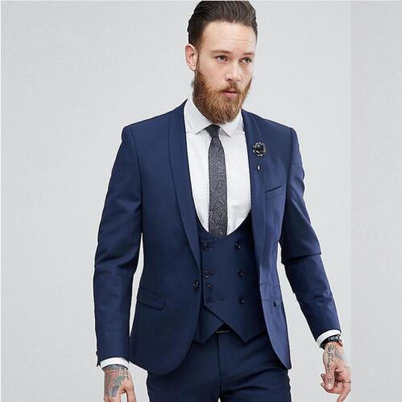 Compre Nuevos Diseñadores Trajes Para Hombre Por Encargo Hombres Azules  Traje De Boda Slim Fit Traje De Hombre Terno Tuxedo Formal Prom Chaqueta +  Pantalón ... 24b9ed85f1bc
