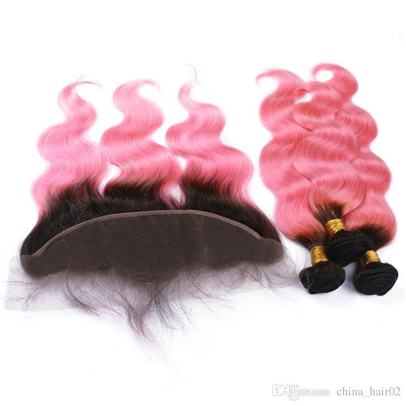 Body Wave 1B / Pink Ombre 13x4 Cierre completo de encaje frontal con paquetes de tejido El cabello humano peruano de Virgin Ombre Pink teje con frontales