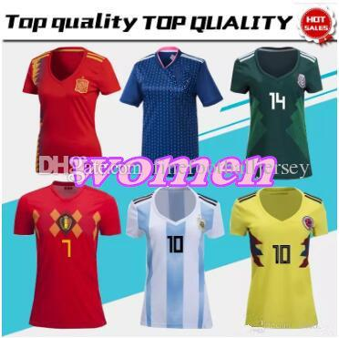 2c7df899d5f ... new style spain argentina japan colombia women soccer jerseys new 2018  world cup home shirt belgium