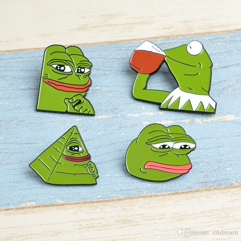 2019 Green Pepe The Frog Brooch Enamel Lapel Pins Good Sad Angry