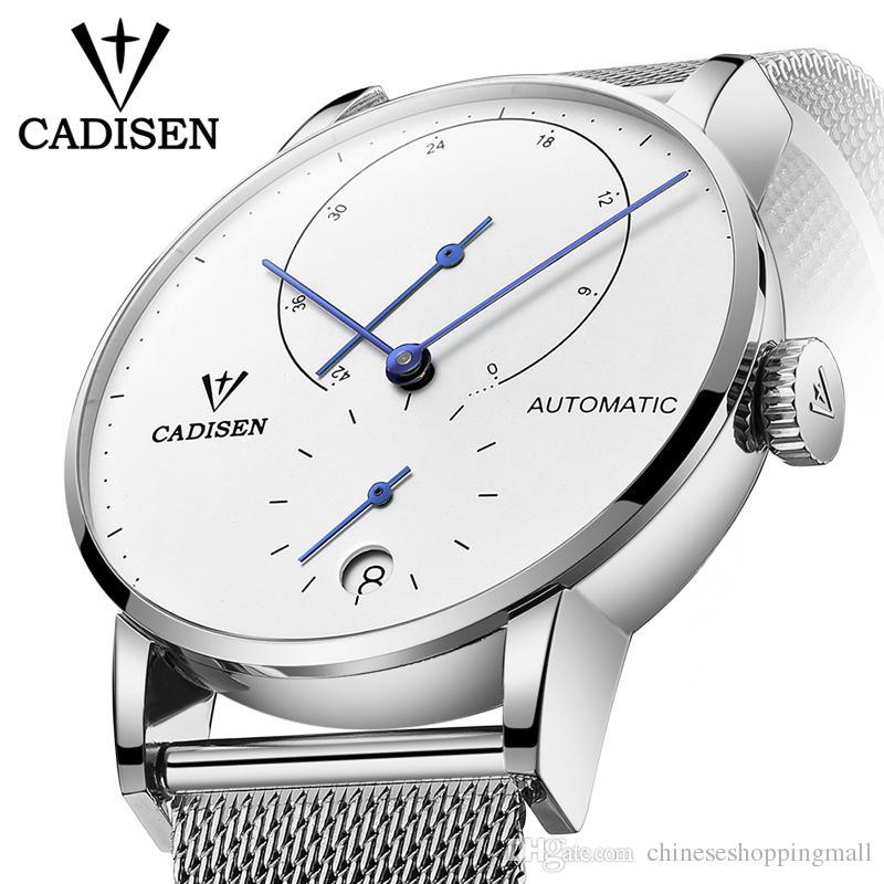 cc922d37db4 Compre Mens Relógios CADISEN 2018 Top Marca De Luxo Relógio Mecânico  Automático Dos Homens De Negócios De Aço Completa À Prova D  Água Moda  Esporte Relógios ...