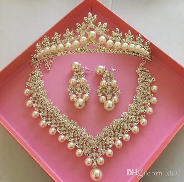 d1385b45051 Rhinestone Crystal Bridal Jewelry Sets Necklaces Earrings Tiaras Sets Beads  Jewelry Pearl Bridal Necklace And Earrings Jewelry Set