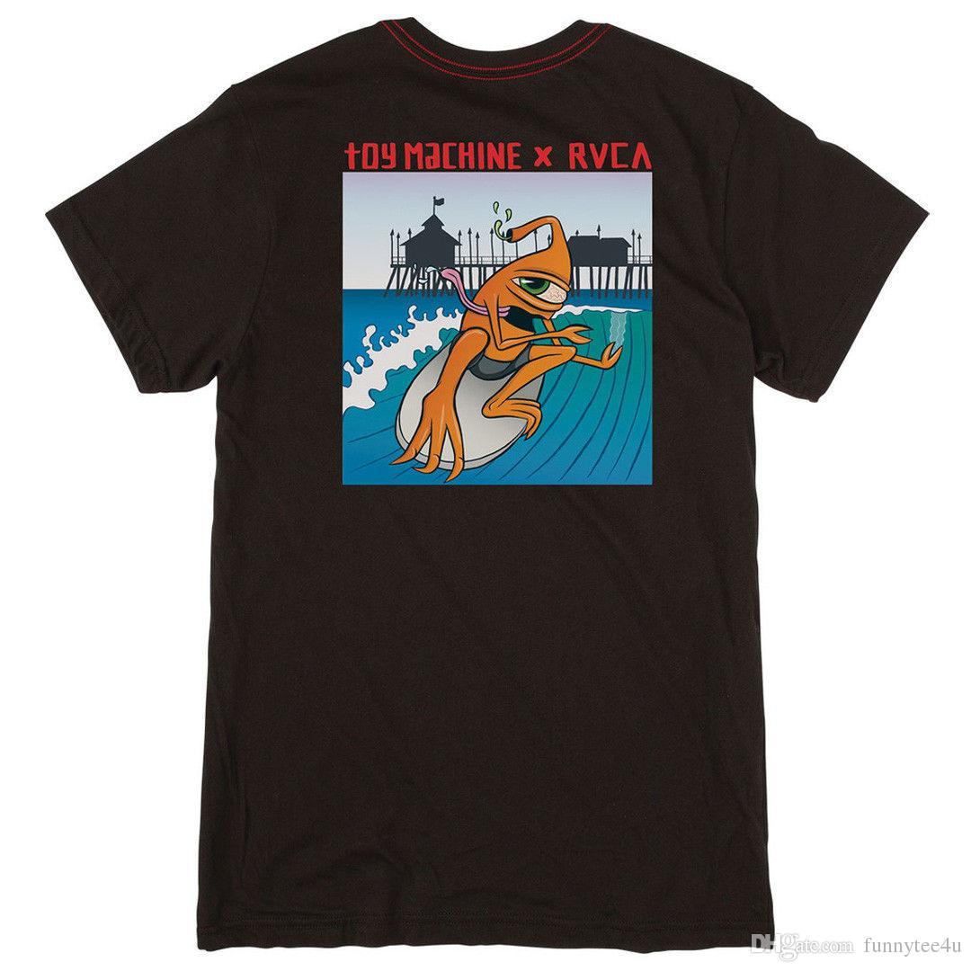 2f22acf056294 Acheter Tee Shirt Rvca X Toy Machine Skateboards Surfer T Shirt Manches  Courtes Noir Pour Hommes De $11.01 Du Funnytee4u   DHgate.Com