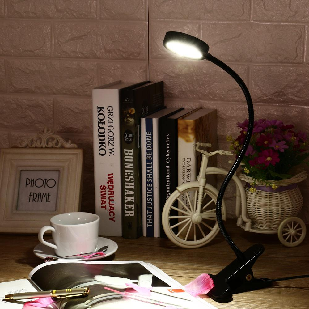 Led Clamp Lamp Reading Light Flexible Book Table Desk Energy Efficient Clip On Night Bed Room Bulb For Study Acrylic Ring