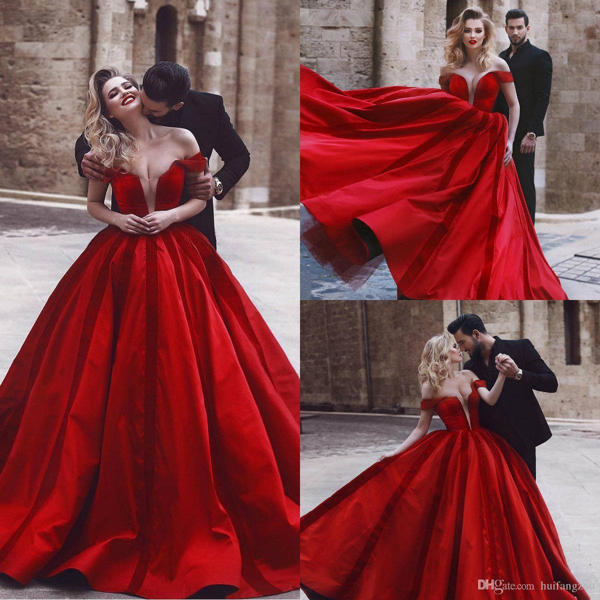 2018 Red Prom Dresses Said Mhamad Off Shoulder Stain Sweep Train Dubai  Arabic Formal Evening Gowns Plus Size Prom Dress Prom Dresses For 11 Year  Olds Prom ... 2c87ef501413