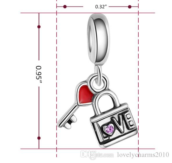 Fits Pandora Bracelets Heart Lock&Key Dangle Charms Beads Silver Charms Bead For Wholesale Diy European Necklace Jewelry Accessories Xmas
