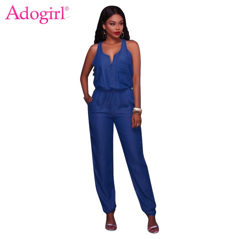 2018 Adogirl 2017 Fashion Tank Wide Leg Jeans Jumpsuits For Women
