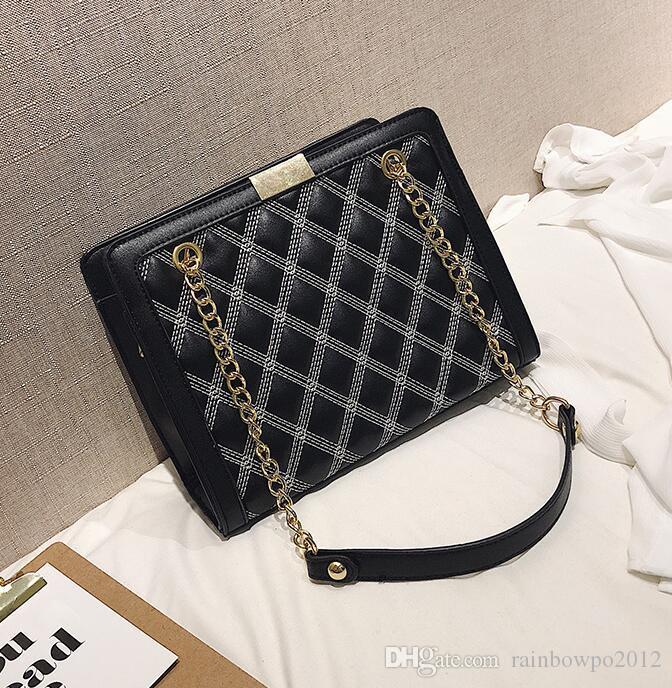 Brand Women Bag Winter New Diamond Shoulder Bag Large Capacity Leather  Fashion Chain Bag Joker Embroidered Line Diamond Shoulder Messenger B  Leather ... 7b407e1e842bd