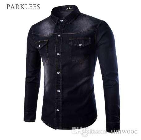 3fd7c265 New Black Jeans Shirt Men 2016 Autumn Fashion Double Pocket Demin Shirt  Casual Brand Slim Fit Shirts Chemise Homme Marque Xxxl