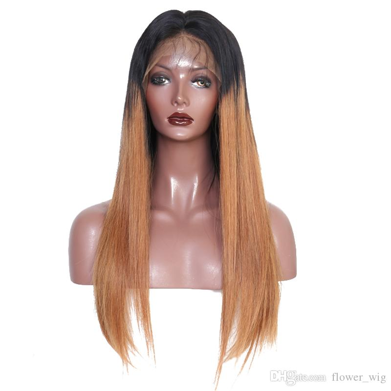 Indian hair unprocessed virgin remy human hair natural straight long sexy ombre color full lace wig for women