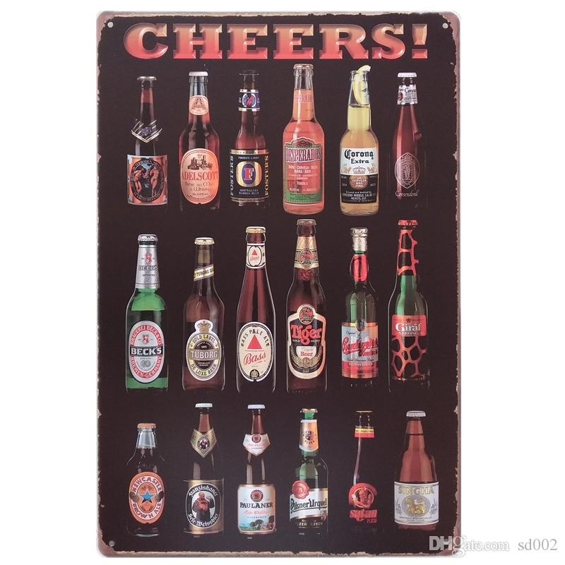 Beer Cup Cheer Design Tin Poster Retro Style Tins Sign Wine Bottle Iron Painting For Bar And Night Club Exaggerated Atmosphere 20*30cm Z