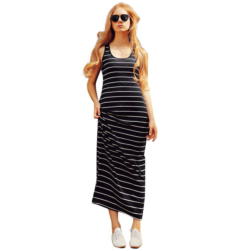 85b4d1e5583 Compre 2019 Nuevas Mujeres De La Moda Maxi Vestido A Rayas Sin Mangas Del  Cuello Del Verano Vestido Largo De Playa Para Mujer Mujer Causal Vestidos  De Las ...