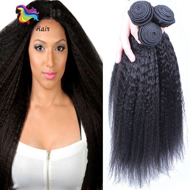 Brazilian Virgin Hair Kinky Straight Human Hair Weave Bundles Deals