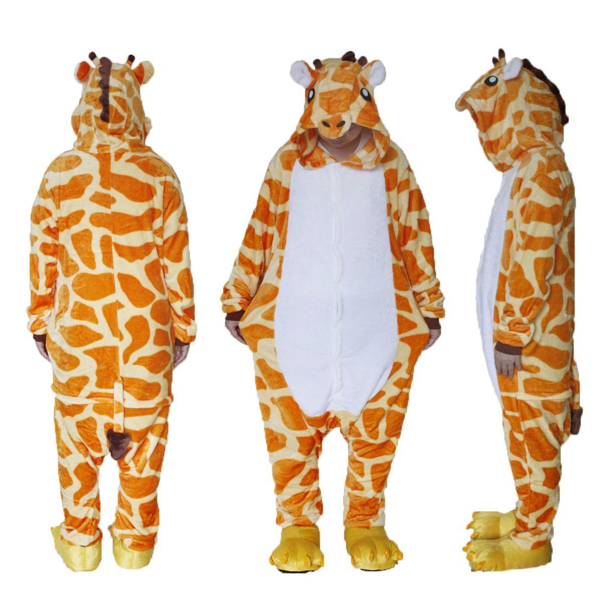 21206277e1 Unisex Adult Pajamas Plush One Piece Cosplay Giraffe Animal Costume  Halloween Costumes Themes For Groups Halloween Costumes For 3 People Group  From Dhwiner