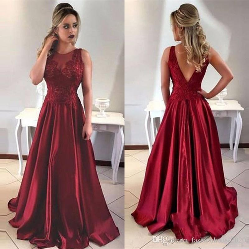 330fd889b94 2018 Dark Red Prom Dresses A Line V Back Jewel Neck Lace Appliques Satin  Sleeveless Sweep Train Arabic Party Evening Gowns For Women Buy Prom Dresses  ...