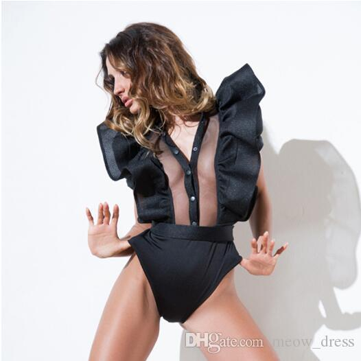 Sexy gauze ruffles Folds of lotus lea fitness bodysuit women clothing fashion sexy hot slim bodycon jumpsuits solid ladies bodysuits rompers