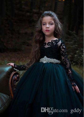 Meninas Vestidos para casamentos Sheer Jewel Neck Lace Applique mangas compridas Big Bow Sweep Trem Tulle de aniversário das crianças Pageant Vestidos