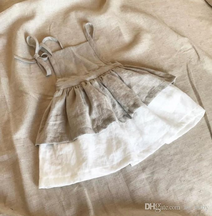 70092720bbd2 INS Baby Cotton Linen Dress Princess Girls Party Boutique Dress Toddler  Girl Summer Clothing for 0-3years