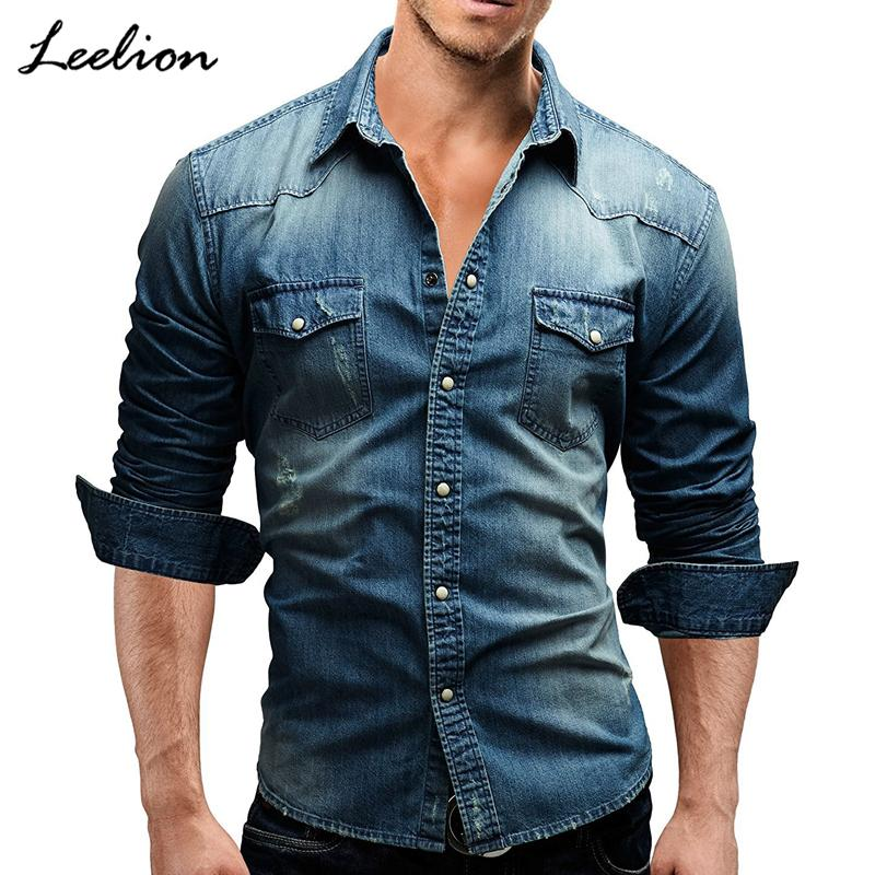 11b679a62ce LeeLion 2018 Spring Denim Shirt Men Long Sleeves Slim Fit Double Pocket  Cotton Dress Shirts Casual Men S Solid Camisa Masculina D18102301 UK 2019  From ...