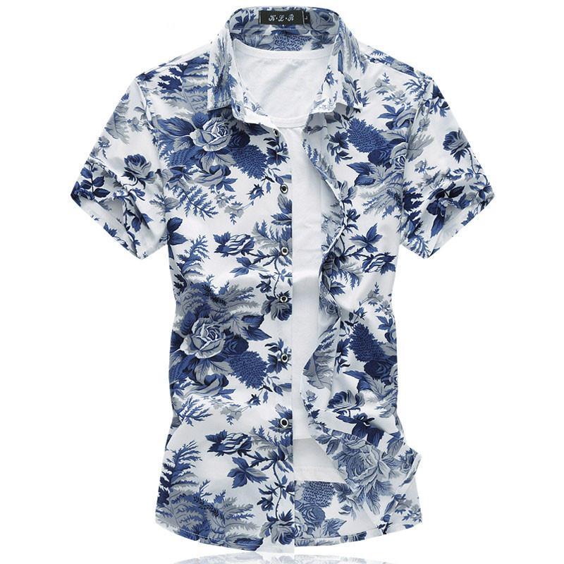 2018 New Floral Hawaiian Shirt Summer Breathable Thin Mercerized Cotton  Short Sleeve Men Shirt Chemise Plus Size Smooth Blouse UK 2019 From  Harrvey b8bc1127638d