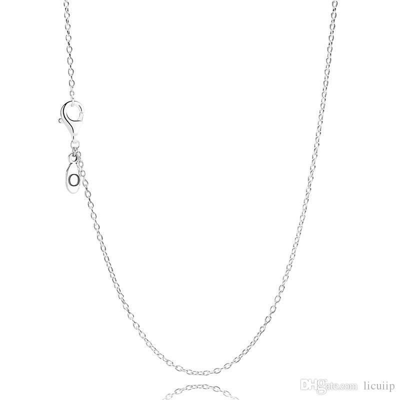 Comercio al por mayor de Las Mujeres 60 CM S925 Cadena de Plata Esterlina Collar Original Fit Pandora Joyería Encantos Colgantes de La Joyería para Las Mujeres