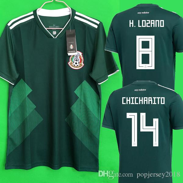 Mexico Soccer Jersey 2018 World Cup Jersey CHICHARITO LOZANO DOS SANTOS  HERRERA MARQUEZ GUARDADO Mexico Jerseys Football Soccer Shirt Kit UK 2019  From ... 0301b1fd8887