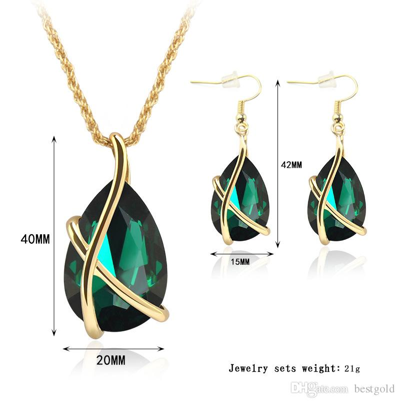 Sapphire Jewelry Gold Plated Necklace Set Fashion Celtic Diamond Wedding Bridal Costume Jewelry Sets Party Jewelrys Necklace + Earrings