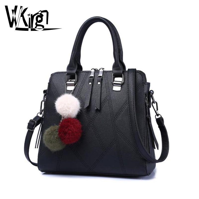 fc65d975d1 VVKing Fashion Handbag Female Bag 2018 Luxury Brand Ladies Messenger Bag PU  Leather Hair Ball Decorative Women S Shoulder Bags Handbags Wholesale Purses  For ...