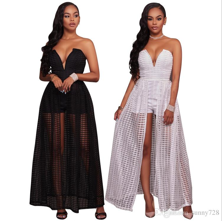 e7c887b602086 2018 New Plaid Lace Long Casual Dresses Ankle Length Sexy V Neck Sleeveless  Zipper Back A Line Party Dress With Inner Shorts White Black Black Summer  ...