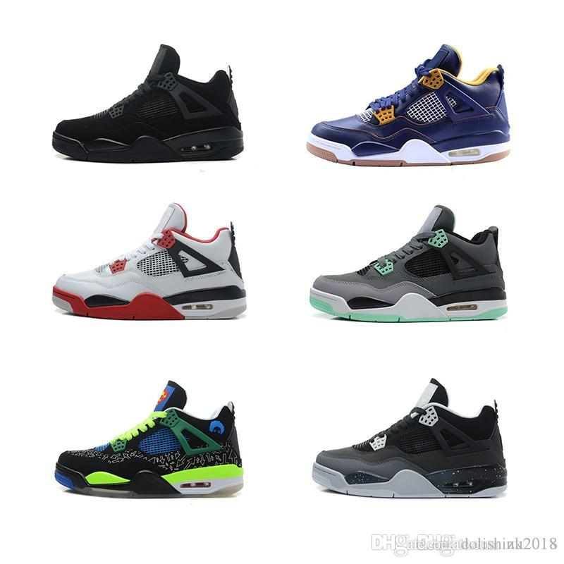 reputable site 514b7 0192a Großhandel Nike Air Jordan 4 Aj 4 2018 Hohe Qualität 4 4s Basketball Schuhe  Mann Authentic Iv Stiefel Weiß Zement Feuer Rot Gezüchtete Stiere Königs  Thunder ...