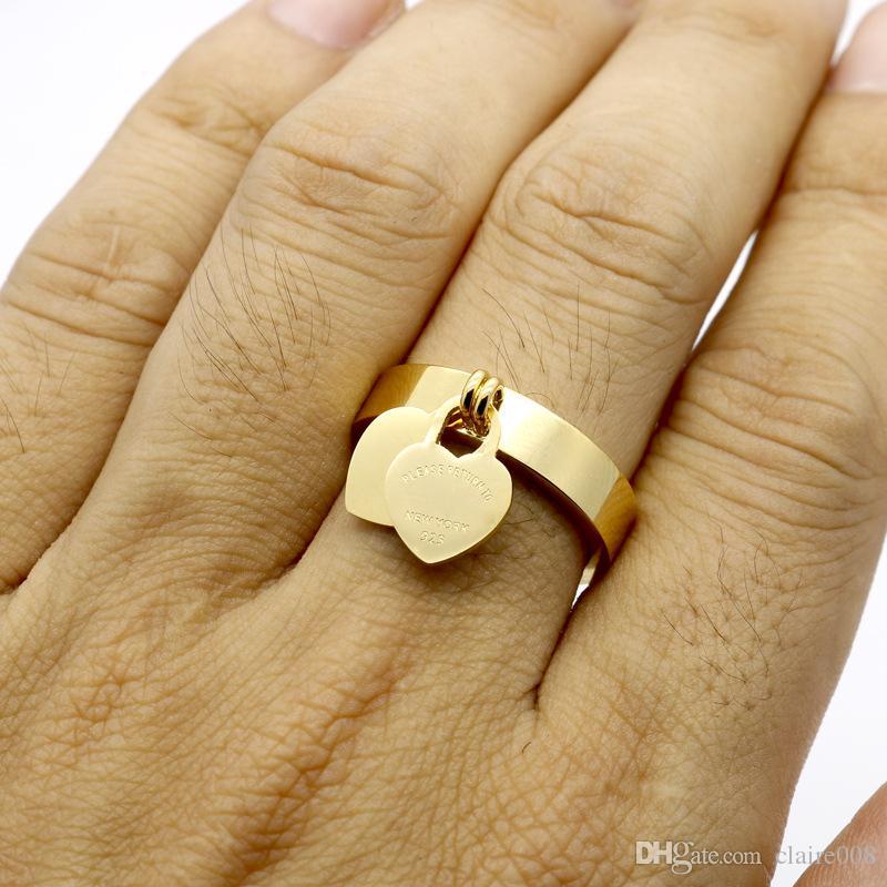 패션 쥬얼리 316L 티타늄 금도금 심장 - 모양의 반지 T 편지 편지 여자를위한 이중 심장 링 여성 반지