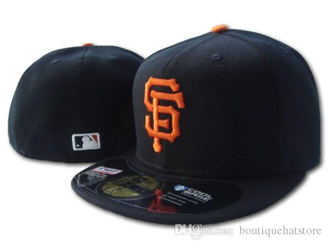 Wholesale On Field Men's Giants fitted hat flat Brim embroiered SF letter team logo fans baseball Hat top quality giants full closed Chapeu