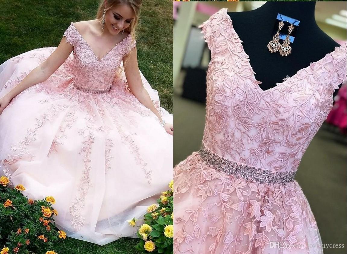 1a15e1955d2f6 2018 Beautiful Pink Evening Dresses V Neck Short Sleeves Tulle Lace Beaded  Princess Designer Applique Long Prom Formal Dress Cheap Evening Dresses For  ...