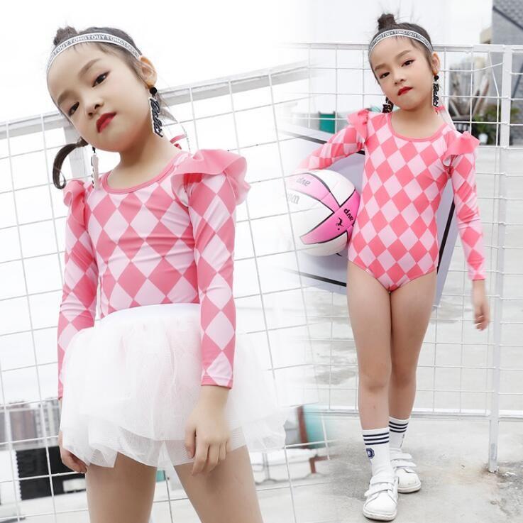 07937aa096de0 PROSEA Girls 3pcs/set Plaid Sun-protective Swimsuits Kids Girls One-piece  Swimwear+Mini Bubble Skirt+ Swimming Cap Bathing Suit Beachwear