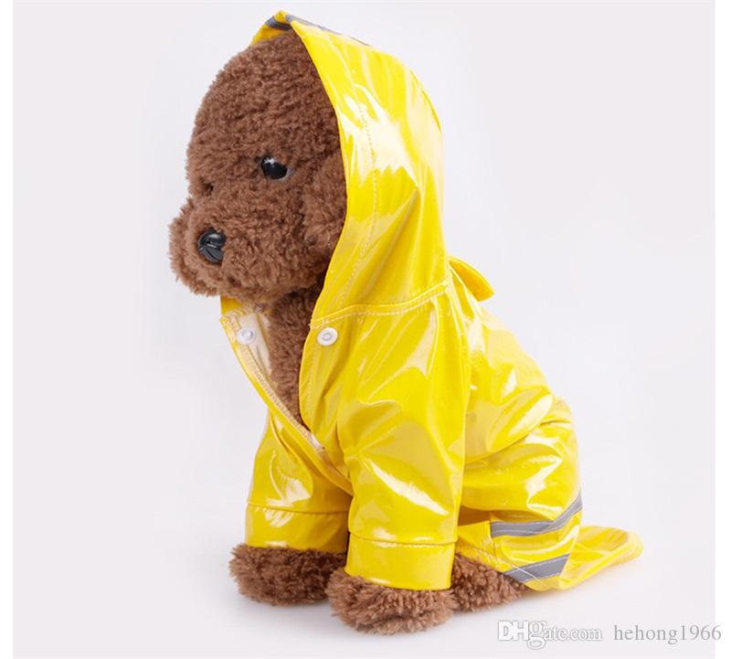 Pet Dress Cat Dog Currency Raincoat Hooded Loose Coat Shelter Wind PU Reflective Four Seasons Available 11 5md y