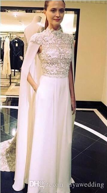 2019 Ile Zuhair Murad Arapça Zarif Abiye Pelerin Yüksek Boyun Dantel Balo Abiye Kat Uzunluk Artı Boyutu Özel Durum Elbise