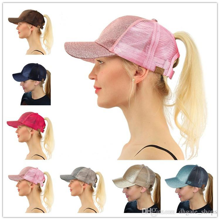 bc66718dc6a CC Glitter Hat Ponytail Mesh Snapback Caps Back Hole Messy Bun Trucker Pony  Tail Horsetail Hat Ponycap Baseball Visor Hip-hop Hats New Online with ...