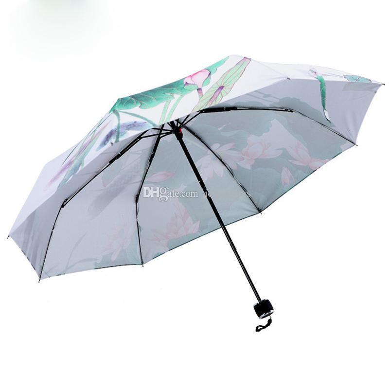 Pintura paraguas tradicional chino pintura al óleo anti-uv lotus parasol