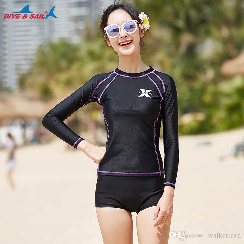 2c4e713e97ff0 2019 Women Korea Style Long Sleeve Rashguard Set Swimming Surfing Rash Guard  Short Top Anti UV Swimwear Woman Swimsuit J From Walkermen