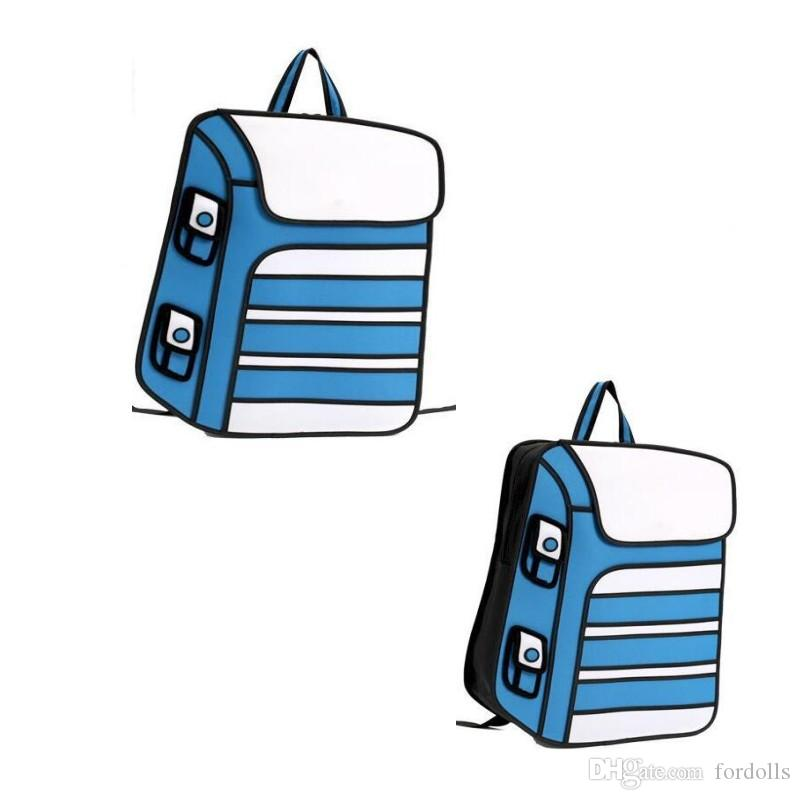 flyone new 3d drawing cartoon paper bag comic paper backpack cute unisex knapsack fashion comic novelty student bags one strap backpack backpacking